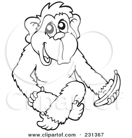 Royalty Free RF Clipart Illustration Of A Coloring Page Outline Monkey With Banana By Visekart