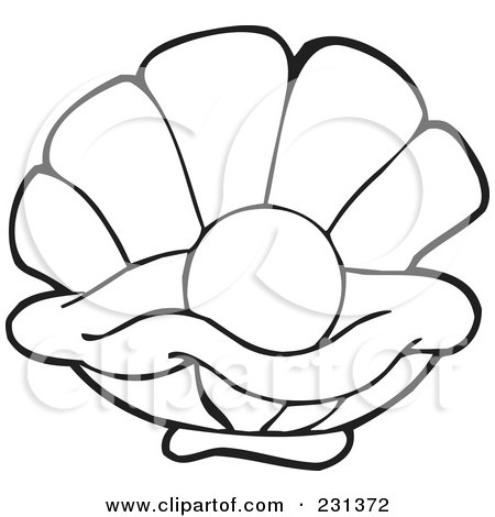 coloring page outline of a pearl in an oyster posters art