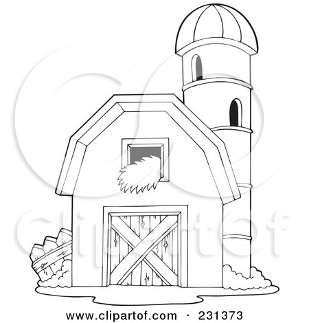 Red Barn Coloring Page http://www.clipartof.com/portfolio/visekart/illustration/coloring-page-outline-of-a-barnyard-granary-231373.html