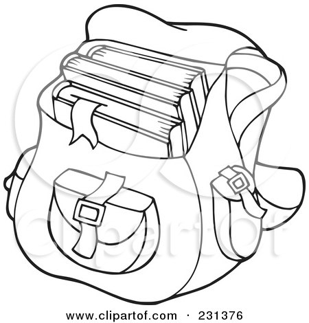 School Coloring Pages on Illustration Of A Coloring Page Outline Of A School Bag By Visekart