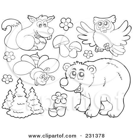 Royalty-Free (RF) Clipart Illustration of a Digital Collage Of Coloring Page Outlines Of Forest Animals And Plants by visekart