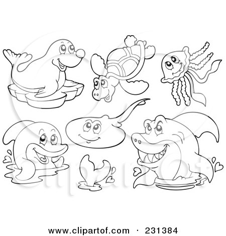 Royalty-Free (RF) Clipart Illustration of a Digital Collage Of Coloring Page Outlines Of Sea Creatures - 1 by visekart