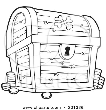 Royalty-Free (RF) Clipart Illustration of a Coloring Page Outline Of A Treasure Chest by visekart