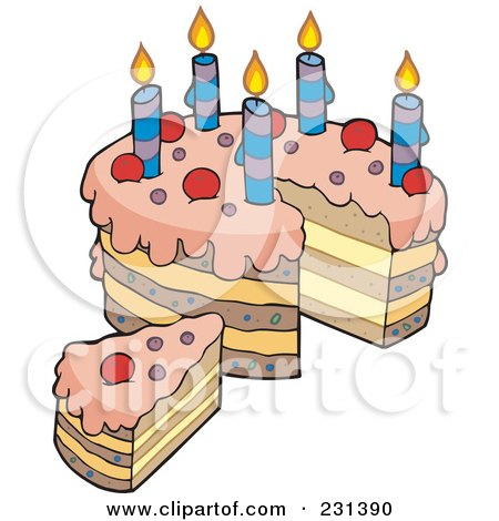 Royalty-Free (RF) Clipart Illustration of a Layered Birthday Cake With A Slice by visekart