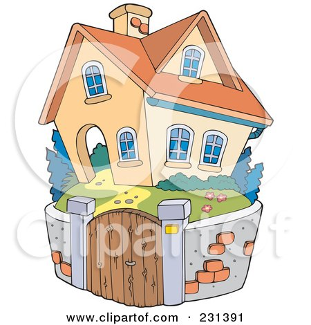 Royalty-Free (RF) Clipart Illustration of a Stone Wall Around A Home by visekart