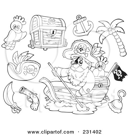 Royalty-Free (RF) Clipart Illustration of a Digital Collage Of Coloring Page Outlines Of Pirates And Items by visekart