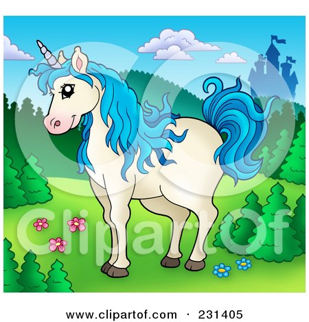 Royalty-Free (RF) Clipart Illustration of a Blue Haired Unicorn Near A Castle by visekart