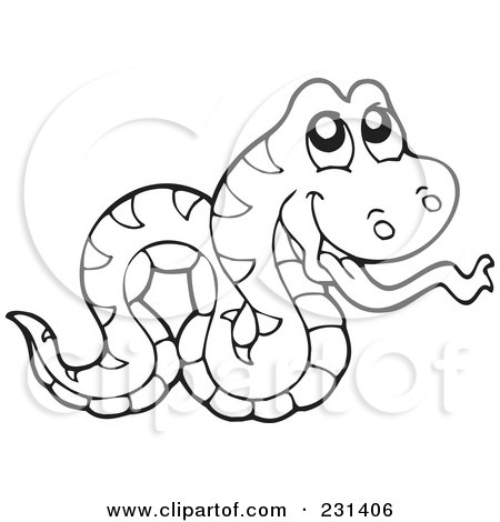 Snake Coloring on Clipart Illustration Of A Coloring Page Outline Of A Snake By Visekart