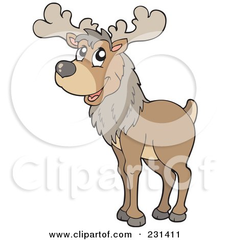 Royalty-Free (RF) Clipart Illustration of a Wild Reindeer by visekart