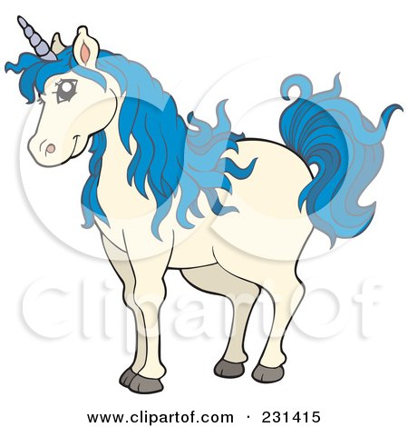 Royalty-Free (RF) Clipart Illustration of a Blue Haired Unicorn by visekart