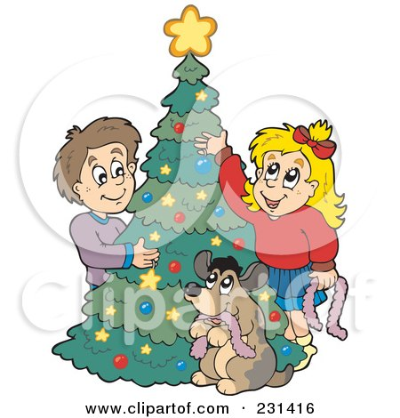 Royalty-Free (RF) Clipart Illustration of a Dog Watching A Brother And Sister Decorating A Christmas Tree by visekart
