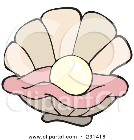 Royalty-Free (RF) Clip Art Illustration of a Cartoon Clam Playing A ... Open Oyster Shell With Pearl