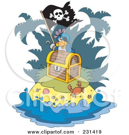 Royalty-Free (RF) Clipart Illustration of a Parrot Pirate On An Island With Treasure by visekart