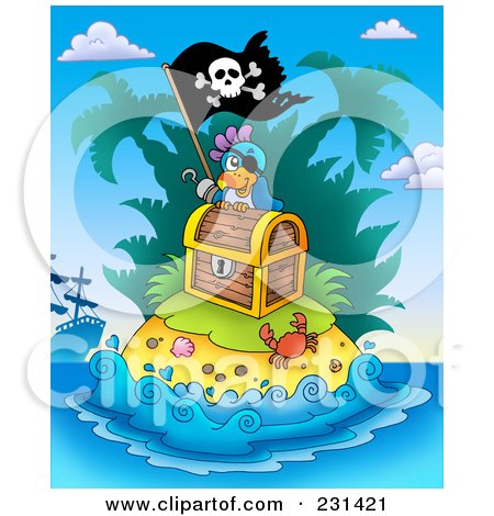 Royalty-Free (RF) Clipart Illustration of a Pirate Parrot On An Island With Treasure by visekart