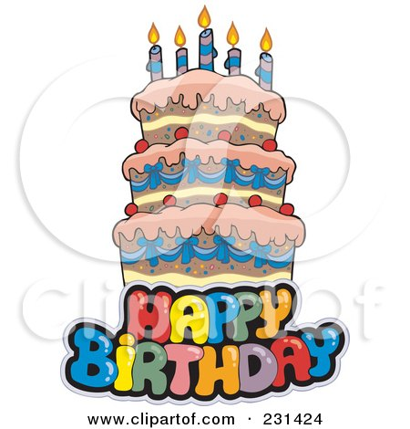 Royalty-Free (RF) Clipart Illustration of a Happy Birthay Text Over A Cake - 2 by visekart