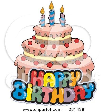 RoyaltyFree RF Clipart Illustration of Happy Birthday Text