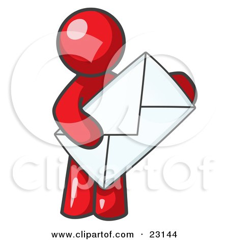 Clipart Illustration of a Red Person Standing And Holding A Large Envelope, Symbolizing Communications And Email by Leo Blanchette