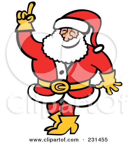 Royalty-Free (RF) Clipart Illustration of an Opinionated Santa Raising A Finger by Zooco