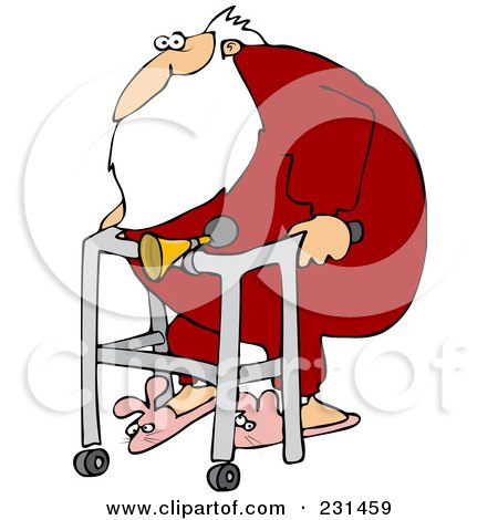 Royalty-Free (RF) Clipart Illustration of Santa Wearing Bunny Slippers And Using A Walker With A Horn Attached by djart