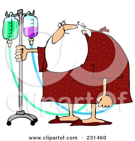 Royalty-Free (RF) Clipart Illustration of Santa Walking With An IV Stand by djart