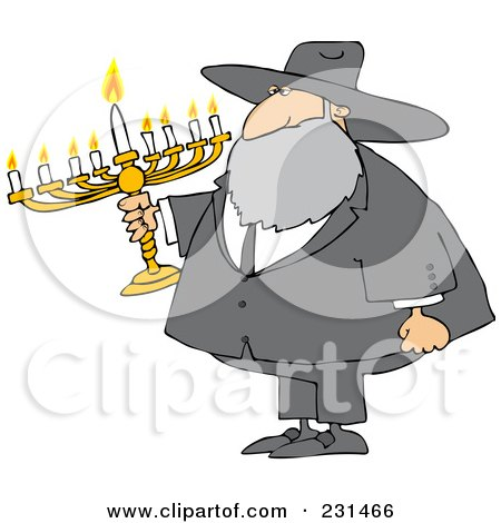 Royalty-Free (RF) Clipart Illustration of a Rabbi Man Carrying A Menorah by djart