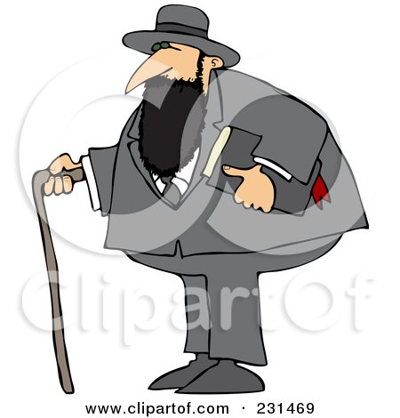 Royalty-Free (RF) Clipart Illustration of a Jewish Man With A Cane And Bible by djart