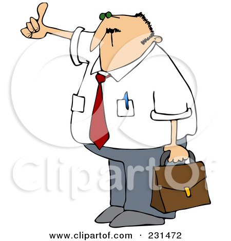 Royalty-Free (RF) Clipart Illustration of a Businessman Holding A Briefcase And Hitching A Ride To Work by djart