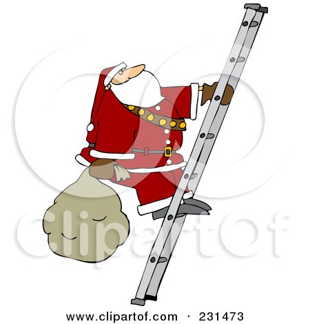 Royalty-Free (RF) Clipart Illustration of Santa Carrying A Sack Up A Ladder by djart