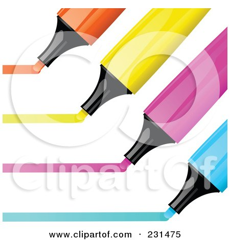 Royalty-Free (RF) Clipart Illustration of a Digital Collage Of Orange, Yellow, Pink And Blue Highlighter Markers Drawing Lines by elaineitalia
