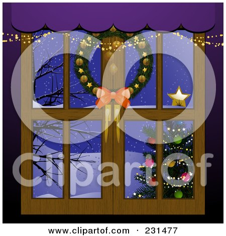 Royalty-Free (RF) Clipart Illustration of a Christmas Window With A Wreath And View Of A Christmas Tree And Winter Landscape by elaineitalia