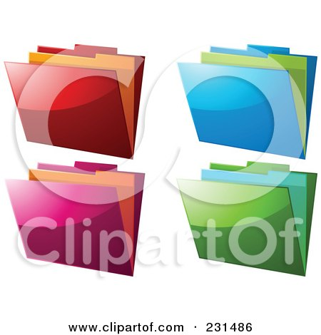 Royalty-Free (RF) Clipart Illustration of a Digital Collage Of Shiny Colorful File Folders by elaineitalia