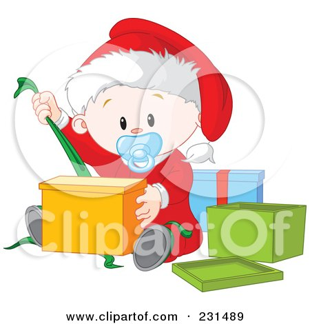 Royalty-Free (RF) Clipart Illustration of a Cute Baby Boy Opening Christmas Presents by Pushkin