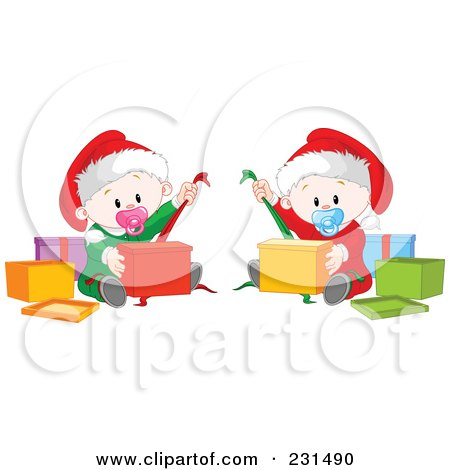 Royalty-Free (RF) Clipart Illustration of Cute Baby Twins Opening Christmas Presents by Pushkin