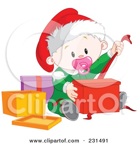 Royalty-Free (RF) Clipart Illustration of a Cute Baby Girl Opening Christmas Presents by Pushkin