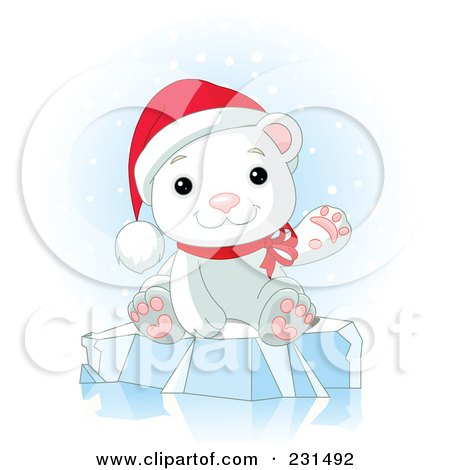 Royalty-Free (RF) Clipart Illustration of a Cute Christmas Polar Bear Waving And Sitting On Ice In The Snow by Pushkin