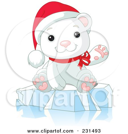 Royalty-Free (RF) Clipart Illustration of a Cute Christmas Polar Bear Waving And Sitting On Ice by Pushkin