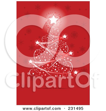 Royalty-Free (RF) Clipart Illustration of a Magical Christmas Tree Of Lights Over A Red Snowflake Background by Pushkin