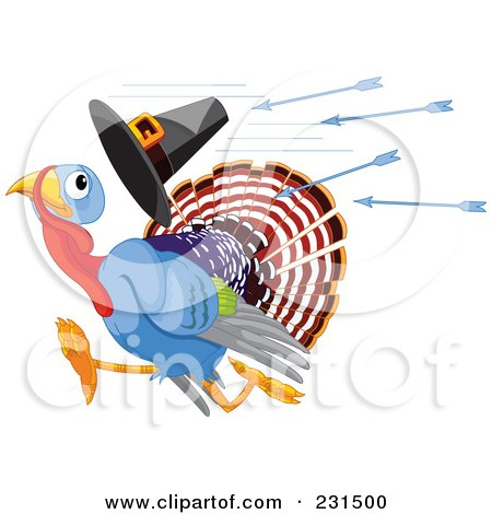 Royalty-Free (RF) Clipart Illustration of a  Thanksgiving Turkey Bird Losing A Pilgrim Hat While Running From Arrows by Pushkin