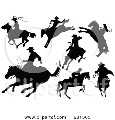 Royalty-Free (RF) Clipart Illustration of a Digital Collage Of Cowboy Silhouettes With Horses by Pushkin