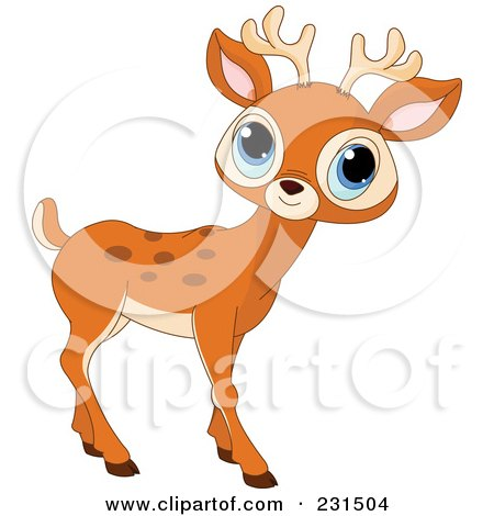 Royalty-Free (RF) Clipart Illustration of a Cute Little Blue Eyed Deer by Pushkin