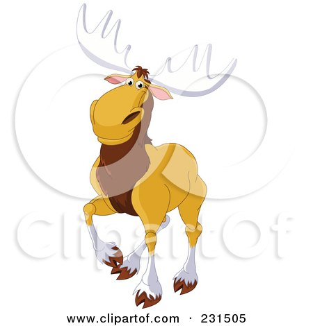 Royalty-Free (RF) Clipart Illustration of a Handsome Elk Walking by Pushkin