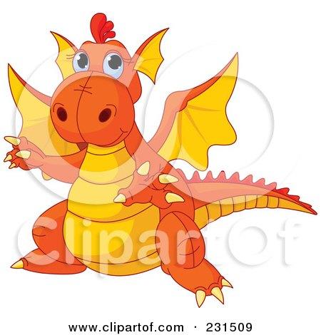 Royalty-Free (RF) Clipart Illustration of a Cute Orange And Yellow Dragon Gesturing To The Left by Pushkin