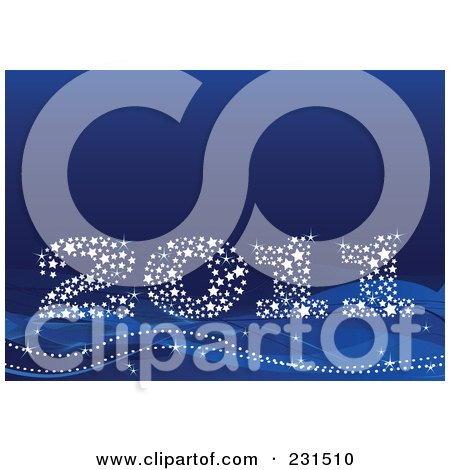 Royalty-Free (RF) Clipart Illustration of a Sparkly Starry 2011 On Blue by Pushkin