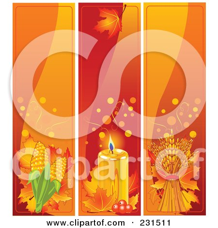 Royalty-Free (RF) Clipart Illustration of a Digital Collage Of Corn, Candle And Wheat Thanksgiving Banners by Pushkin