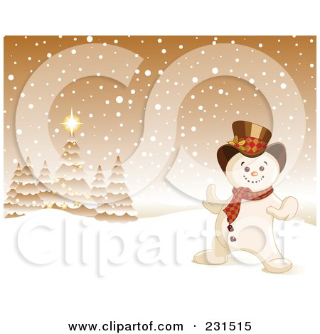 Royalty-Free (RF) Clipart Illustration of a Happy Snowman In A Golden Christmas Winter Landscape by Pushkin