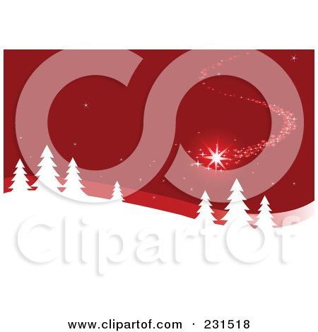 Royalty-Free (RF) Clipart Illustration of a Magical Shooting Star Over Evergreens In A Winter Landscape On Red by Pushkin