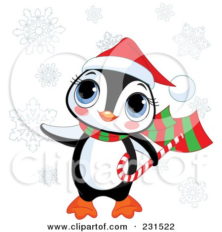 Royalty-Free (RF) Clipart Illustration of a Cute Christmas Penguin Carrying A Candy Cane In The Snow by Pushkin
