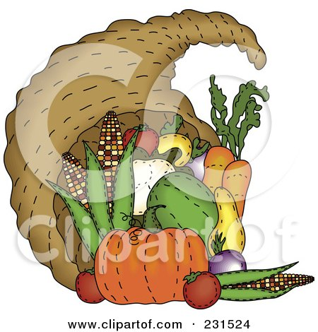 Royalty-Free (RF) Clipart Illustration of a Sewn Folk Art Styled Cornucopia by inkgraphics