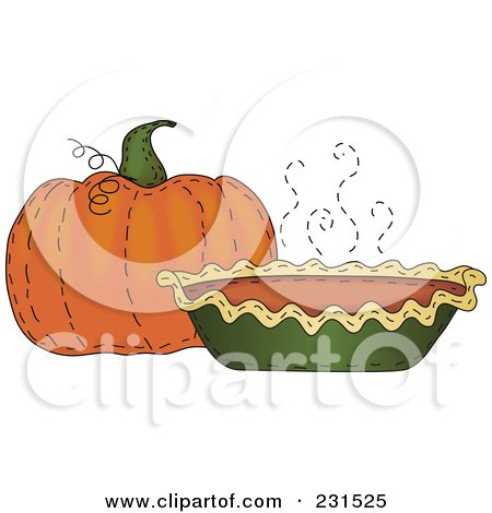 Royalty-Free (RF) Clipart Illustration of a Sewn Folk Art Styled Pumpkin And Pumpkin Pie by inkgraphics