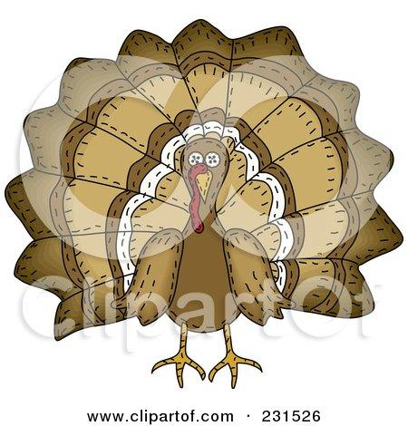 Royalty-Free (RF) Clipart Illustration of a Sewn Folk Art Styled Turkey Bird by inkgraphics